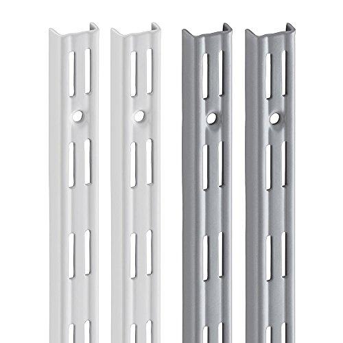 Wandschiene PRIMESLOT (2 Stück) | 2-reihig | weiß, silber | 4 Längen | für Regalsystem, Regalträger | 495 mm weiß