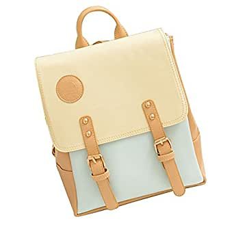 New Chic College Korea Fashion Women Girl Faux Leather Backpack School bag J119 (Blue)