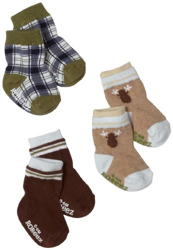 Robeez Baby-boys Infant 3 Pack Moose Socks, Brown/Multi, 0-6 Months