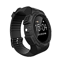 Markrom V11 Smart watch for Iphone Samsung phone With Bluetooth Watch Camera Heart Rate MP3 Music black