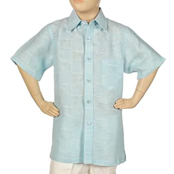 Linen plaid shirt for boys short sleeve.