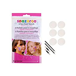Snazaroo Face Paint Stencils with 10-Piece Applicator Pack