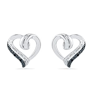 Sterling Silver Black And White Round Diamond Heart Earrings (0.03 Cttw)