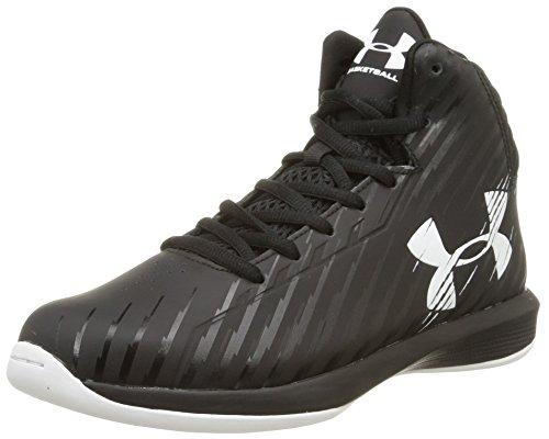 Under Armour Kids' Grade School UA Jet Basketball Shoes (7 Big Kid M, Black/White)