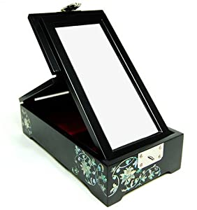 wooden jewellery box with free standing mirror handmade mother of pearl gift oriental flower. Black Bedroom Furniture Sets. Home Design Ideas