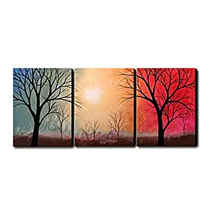 Hand painted oil painting landscape oversized for Set of three canvas paintings