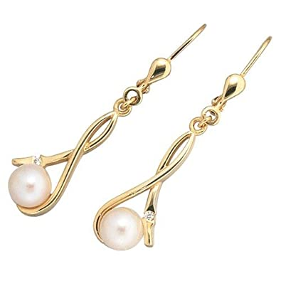 Pendant Earrings Earrings Cultured Pearls & Gold 333 Zirconia Ladies Earrings Regenbogen