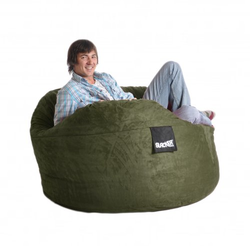 5u0027 Olive Green Foam Bean Bag Chair like LoveSac Microsuede SLACKER sack Love Sack  sc 1 st  Chairs And Sofas & Chairs And Sofas: Cheap 5u0027 Olive Green Foam Bean Bag Chair like ...