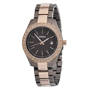 Fossil Women's ES3000 Stella Mini Brown and Rose Stainless Steel Watch
