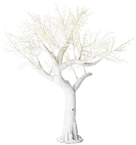 Arclite Nbl-230-3 Bonsai Cherry Blossom Tree With Leaves, 0.9M Height, With White Trunk, Clear Crystals And Warm White Lights