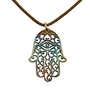 Small Hamsa Iridescent Pendant Necklace on Adjustable Natural Fiber Cord