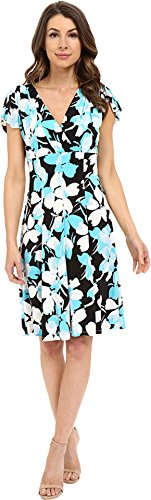 London Times Women's Flat Blossom Fit and Flare Blue Dress 6