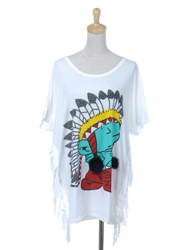 Anna-Kaci S/M Fit Multicolored Native American-Influence Tiny Smurf-Like Guy Top