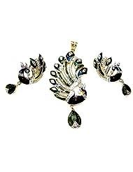 Poddar Jewels Cubic Zirconia Blue/Green Meena Peacock Shape Pendant Set