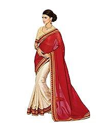 Pehnava Cotton Silk Skirt With Georgette Pallu Saree