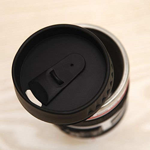 Coffee-Mug-Camera-Lens-Travel-Thermos-Stainless-Steel-Insulated-Cup-with-Easy-Clean-Lid-135oz-Black-Go-with-Premium-Stainless-Steel-Spoon-BonusuHome