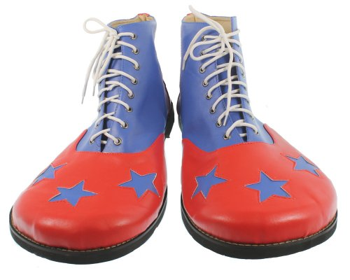 RedSkyTrader Mens 3 Star Costume Clown Shoes One Size Fits Most Red And Blue
