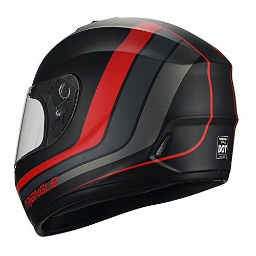 Full Face Matte Black/Red Street Bike Motorcycle Helmet by Triangle [DOT] (Medium)