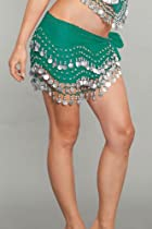 Teal Green Belly Dance Hip Scarf in gold