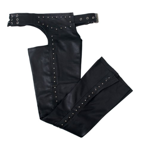 Hot Leathers Women's Studded Leather Chaps (Black, Medium)