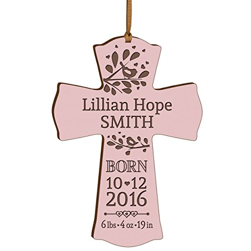Personalized New Baby birth shower announcement gift ideas for newborn boys and girls Custom engraved wall cross ornament for new mom and dad and grandparents (Pink) (Personalized Newborn Girl compare prices)