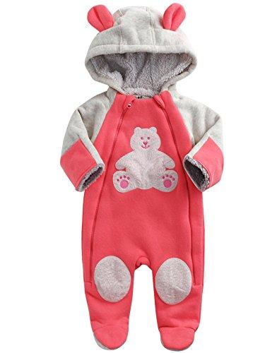 Vaenait Baby 6-24M Winter Fleece Hoodie Jumpsuit Romper Teddy Bear Pink 12-18M