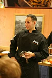 Chef Revival J017BK Cotton Cuisinier Long Sleeve Chef Jacket with Cloth Covered Button, 5X-Large, Black