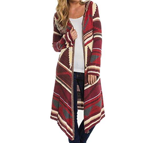 Elevin(TM)Women Geometric Printed Long Sleeve Hooded Kimono Cardigan Coat Cover Up Tops (XL, Red)