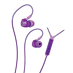MEE audio Sport-Fi M6P Memory Wire In-Ear Headphones with Microphone, Remote, and Universal Volume Control (Purple)