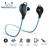 Wireless Bluetooth Headphones, SoundWave, Pure Bluetooth Sound Earbuds Sweat Proof Running Headset In-Ear Sports Headphones with Microphone - iPhone 6s, Samsung Galaxy S6 S5 & Android Phones (Blue)