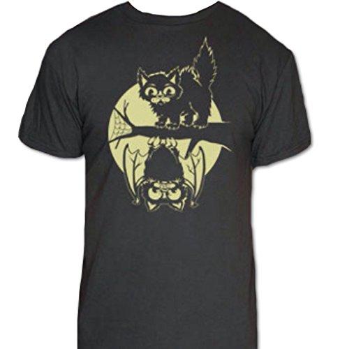 Cat & Bat Halloween T-Shirt-Funny Halloween Shirt