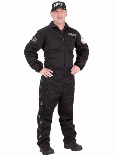 Black SWAT Team Costume Police Suit S.W.A.T. Uniform Mens Theatrical Costume