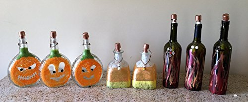 Tiki Torch - made from old Liquor or Wine bottles - Pumpkin, candy corn, flames (Yukon Jack Whiskey compare prices)
