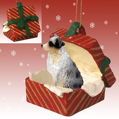 Blue Docked Australian Shepherd Red Gift Box Christmas Ornament