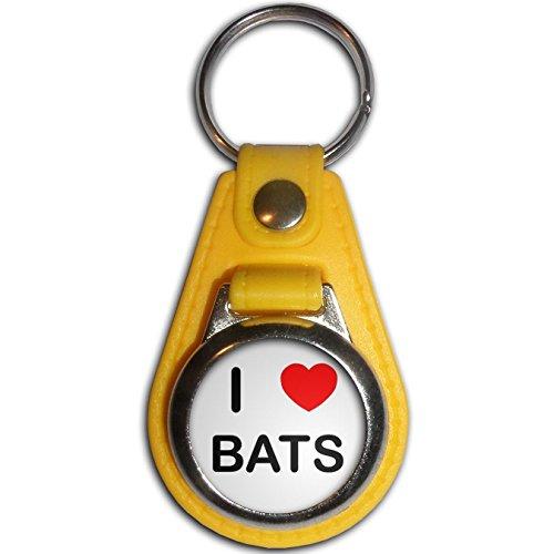 I Love Bats - Giallo Plastica / Metallo Medaglione Colori Portachiavi