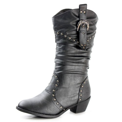 West Blvd Womens Cowboy Boots Casual Western Shoes Chunky Heels Cowgirl Slouch Roper Studded Mid Calf Buckle Slouchy Stud Round Toe Buckled Ruched Dress Fashion Designer Comfort