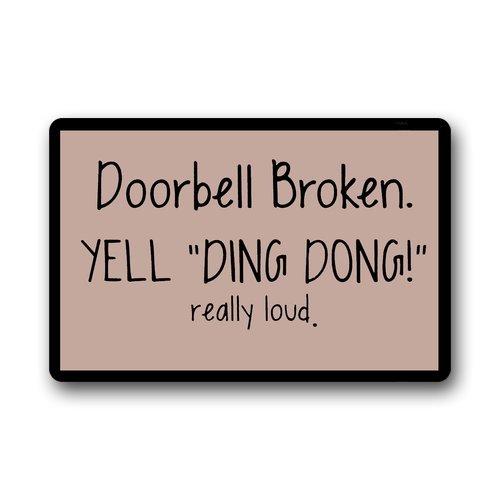 Custom Machine-washable Door Mat Doorbell Broken Yell Ding Dong Really Loud Indoor/Outdoor Doormat 30(L) x 18(W) Inch