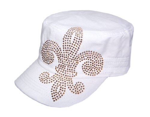 Flashy Gold Fleur De Lis Saints White Hat Cap Visor at Amazon.com