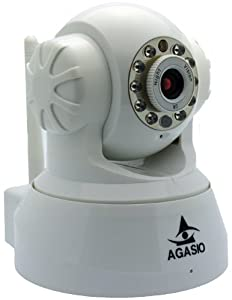 Agasio A502W Wireless IP Camera with IR-Cut Off Filter for TRUE COLOR Images (Not Washed Out), Auto-Iris (Auto-Brightness Adjustment), I/O Alarm Linkages, 26ft Nightvision, 3.6mm lens (90° Viewing Angle), Synology & Blue Iris Compatible, WHITE