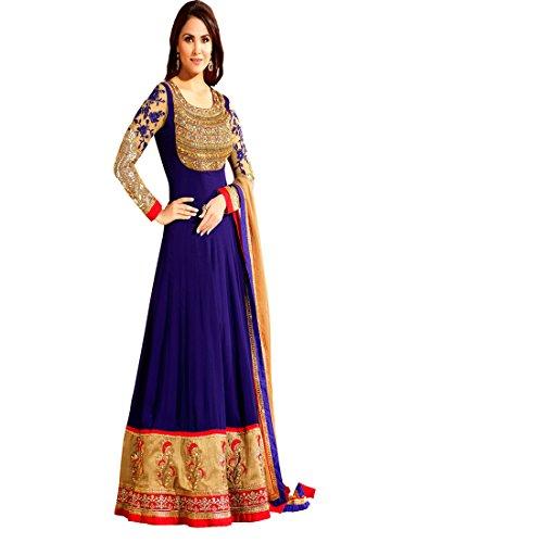 Shelina Blue Georgette Bollywood Anarkali Salwar Suit With Dupatta