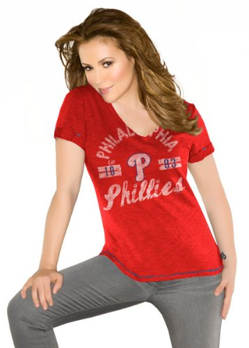 Philadelphia Phillies Women's Red Fair Catch Vintage Slub Jersey T-Shirt -Touch by Alyssa Milano at Amazon.com