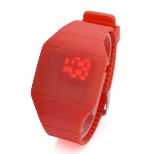 Jovivi Screen Led Digital Silicone Ultra-Thin Touch Sport Watch (Red)