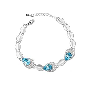Silver Swarovski Elements Crystal Diamond Accent Teardrop Bracelet for women teenage girls, with a Gift Box, Ideal Gift for Birthdays / Christmas / Wedding---Blue, Model: X12119