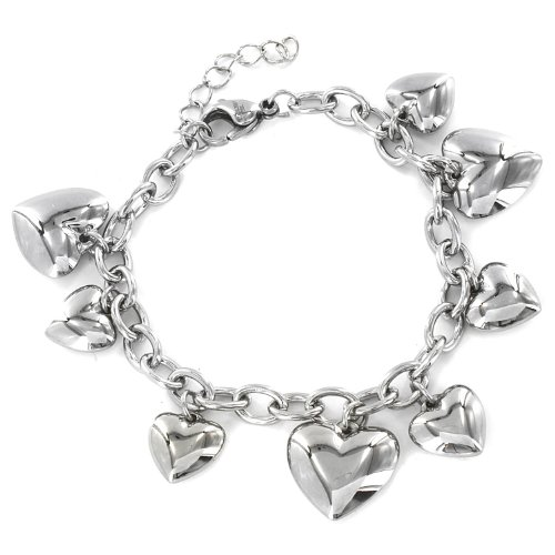 Stainless Steel Polished Heart Charm Dangle Bracelet - 7.5 Inch with 1 Inch Extension