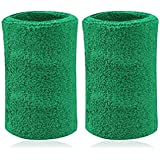 Kagogo 6 Inch Long Thick Cotton Sports Wristband Sweatband For Basketball Tennis And Other Sports Price Pair Green