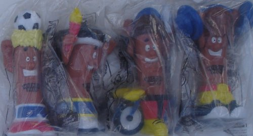 hillshire-farms-1996-set-of-4-wiener-pack-olympic-hot-dog-figures-featuring-torch-runner-cycle-rider