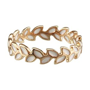 FM42 18k Yellow Gold Plated White Enamel Accent Olive Branch Design Band Ring Size 7