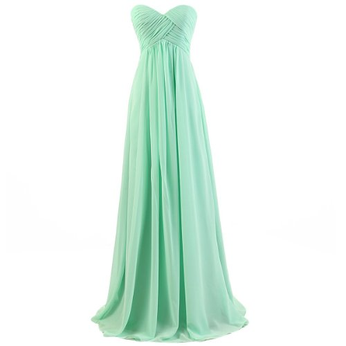 Ouman Sweetheart Bridesmaid Chiffon Prom Dress Long Evening Gown Mint Green M