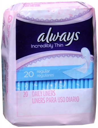 Always Incredibly Thin Daily Liners, Regular, 20 count
