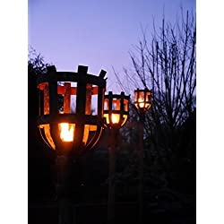 Gartenfackel aus massiven Stahl Garten Deko Edelrost Rost Feuerkorb